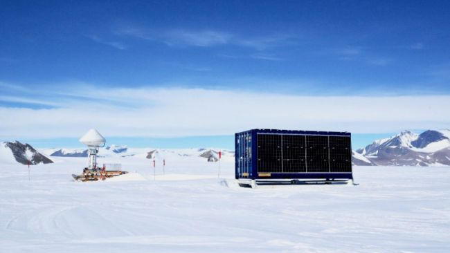 A solar powered container unit ready for deployment in the field - © International Polar Foundation