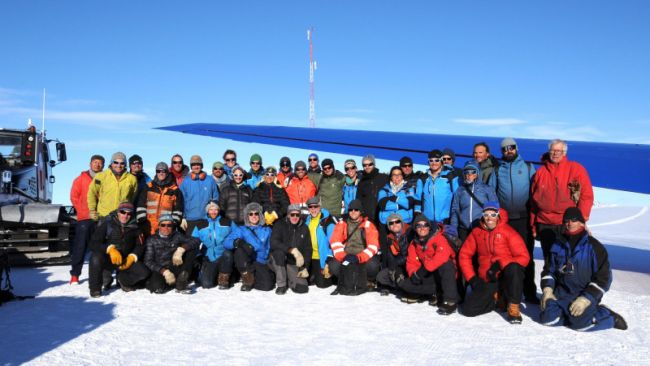 Group photo including scientists at the staiton during the first part of the 2019-2020 season - © International Polar Foundation
