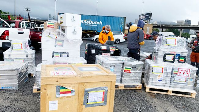 Executive Secretary IPF South Africa Michel de Wouters checks cargo in Cape Town for the 2020-2021 season - © International Polar Foundation