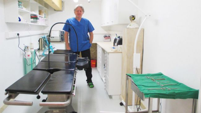 Doctor Jaques Richon poses in the newly completed surgery room at the Princess Elisabeth Antarctica - © International Polar Foundation