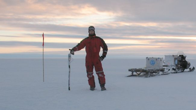 Denis Lombardi preparing to install a seismometer during a field expedition. - © International Polar Foundation