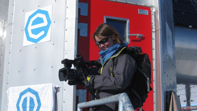 Hélène Grandjean filming at the station's doorsteps - © International Polar Foundation