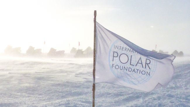 The International Polar Foundation, flying the flag at Princess Elisabeth Antarctica - © International Polar Foundation