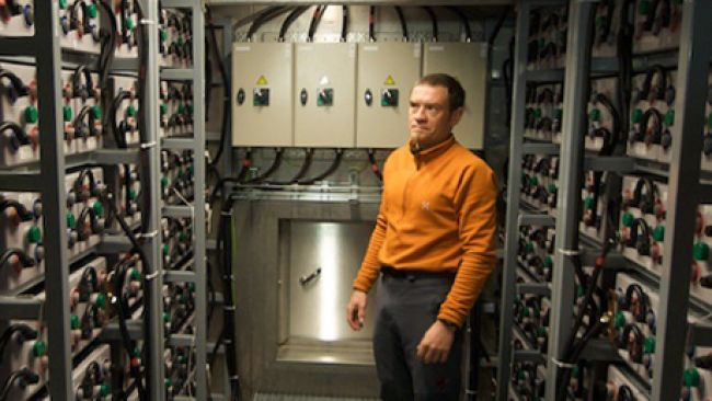 Sven Kerremans inside the technical core of the station - © International Polar Foundation