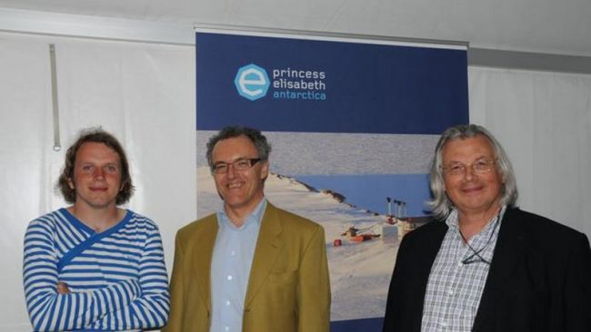 Wim Tellier, photographer, Thierry Touchais, Executive Director of IPF, and Daniel Desmet, Asteria Expeditions - © International Polar Foundation