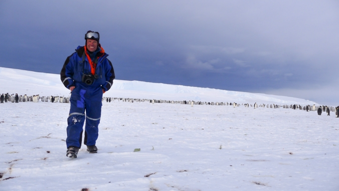 Expedition leader Alain Hubert at the newly discovered penguin colony - International Polar Foundation