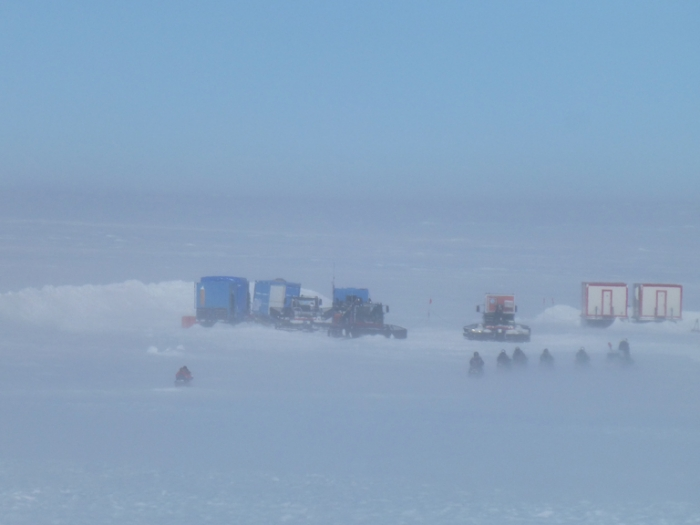 Field camp in place on the Antarctic plateau.  - International Polar Foundation/Alain Hubert