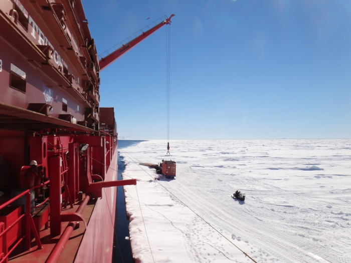 Unloading the Mary Arctica at the Antarctic Coast - International Polar Foundation/Alain Hubert