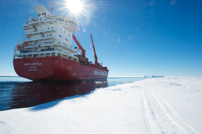 The Mary Arctica arrives at the Antarctic coast from Antwerp, laden with equipment and supplies for Princess Elisabeth Antarctica. - International Polar Foundation/Alain Hubert