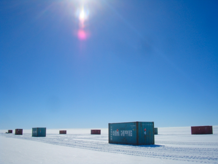 Shipping containers ready to be transported from the coast to Princess Elisabeth Antarctica - International Polar Foundation/Alain Hubert