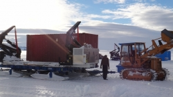 The team loads the garbage containers - International Polar Foundation
