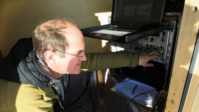 Olivier Francis at work in a scientific shelter - International Polar Foundation